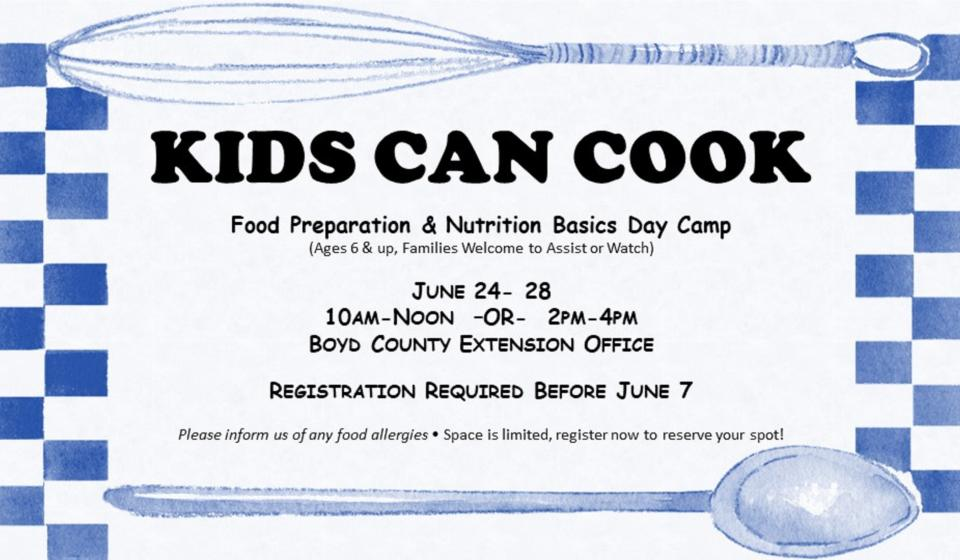 Kids Can Cook, June 24-28, Register by June 7