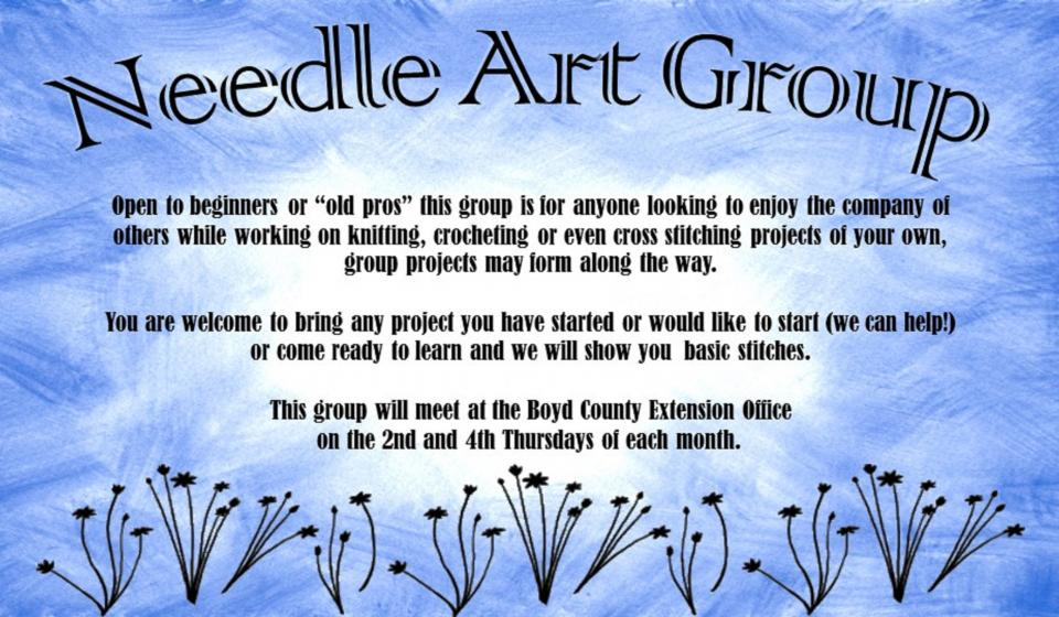 Needle Art Group, Meets July 27