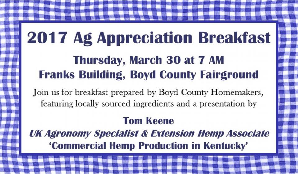 Ag Appreciation Breakfast, March 30