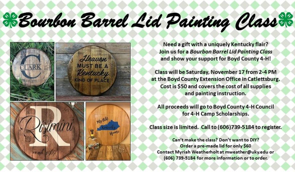 Bourbon Barrel Lid Painting Class, Call now to register!