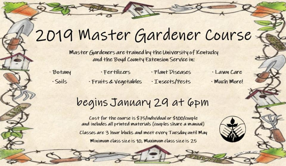 2019 Master Gardener Course begins January 29 at 6pm