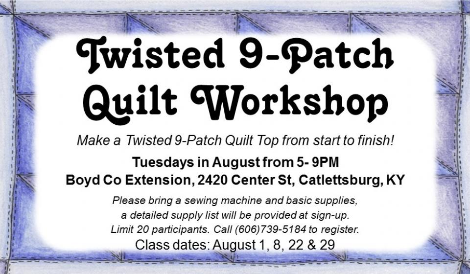 Twisted Quilt Worshop, August 2017