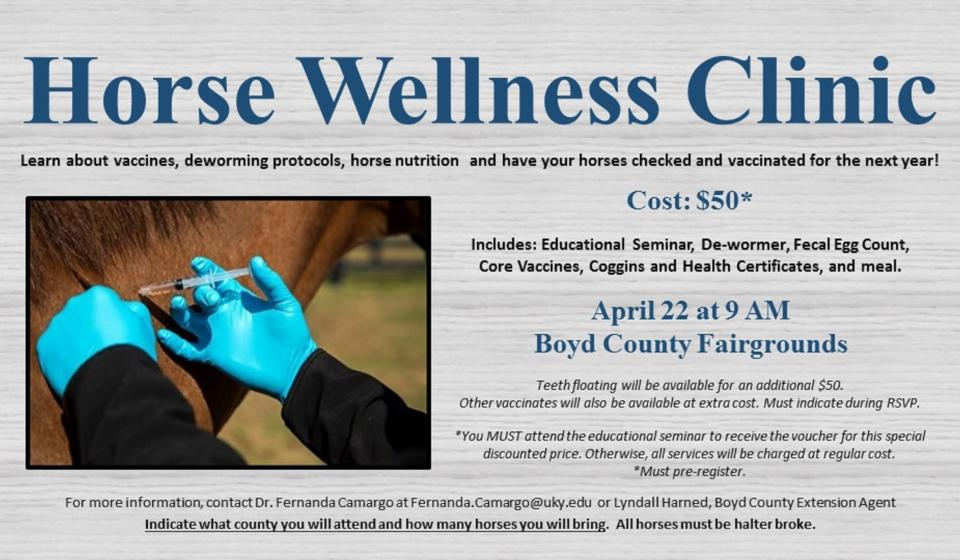 Horse Wellness Clinic, April 22, MUST RSVP