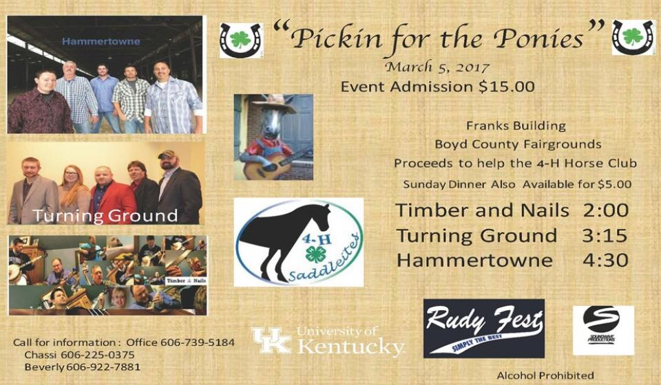 Pickin for the Ponies, 4-H Fundraiser, March 5