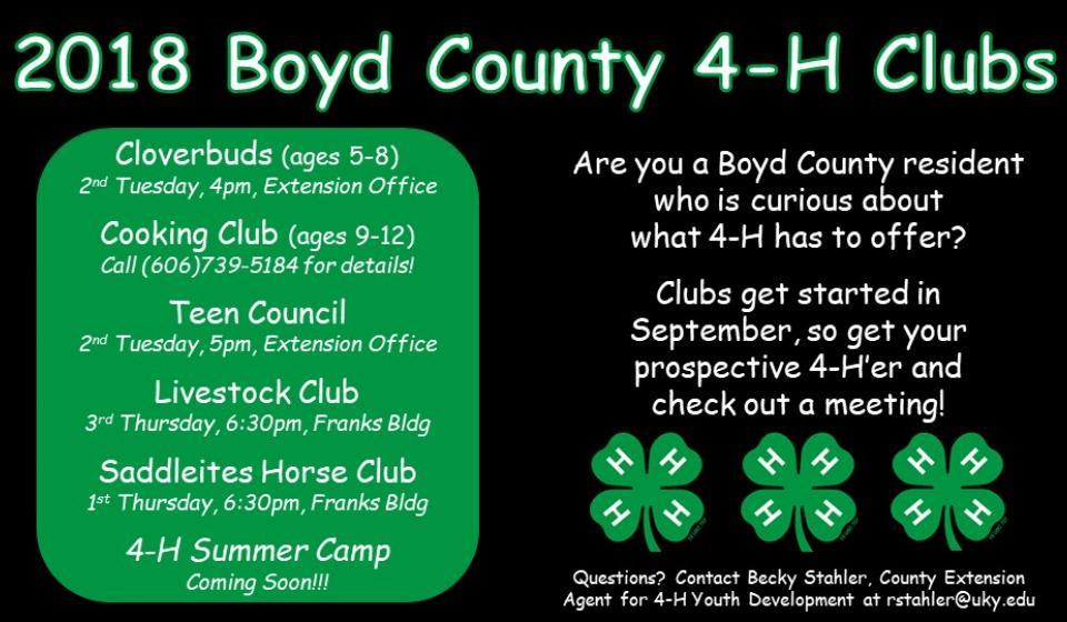 4-H Clubs, come to a meeting!